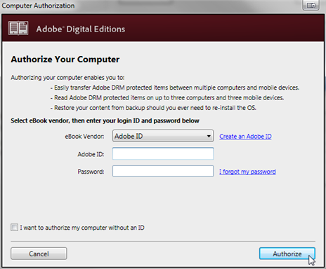 Authorize Adobe ID